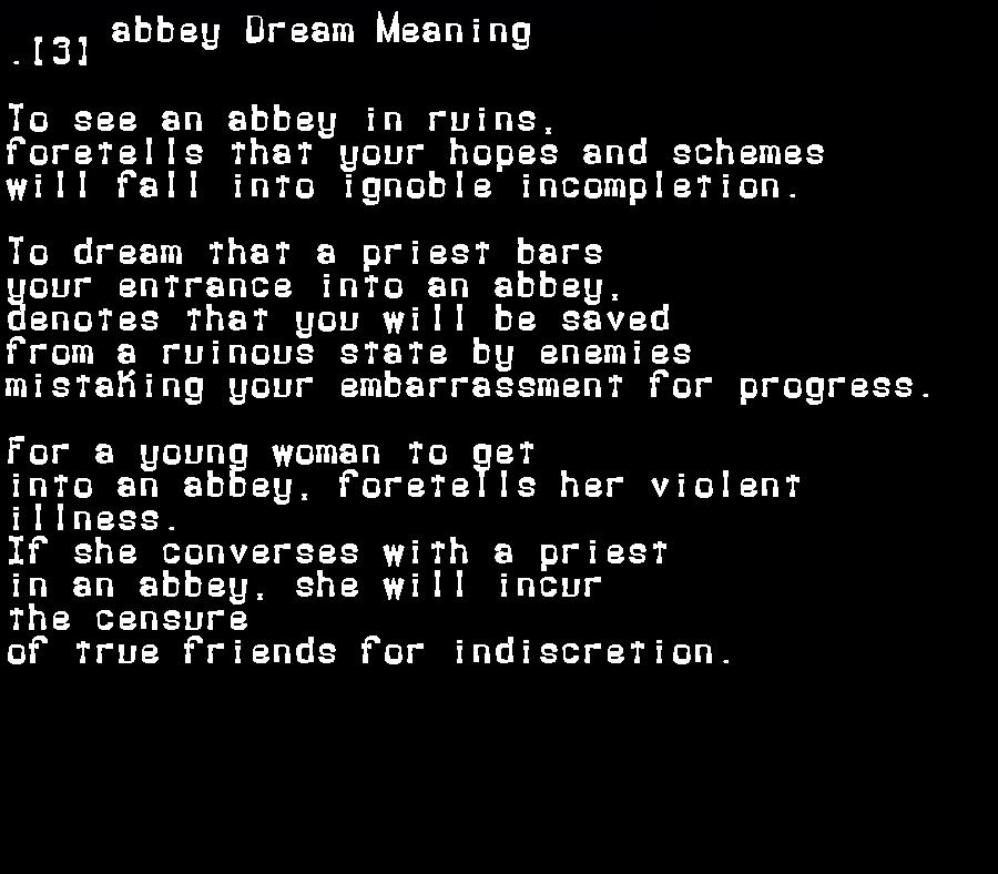 dream meanings abbey