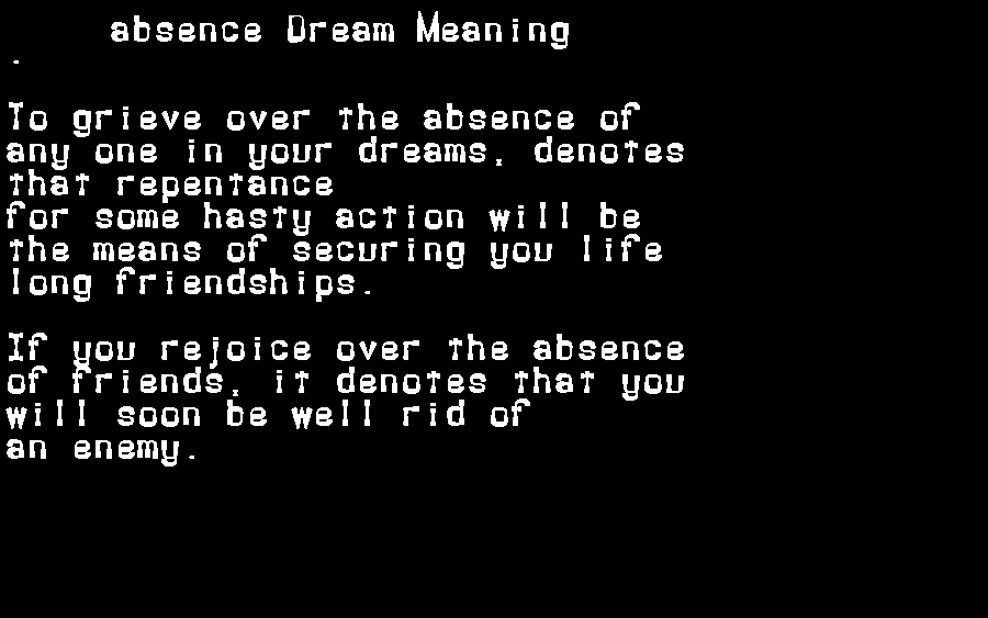 dream meanings absence