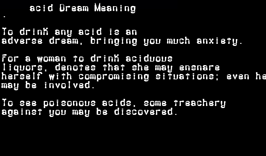 dream meanings acid