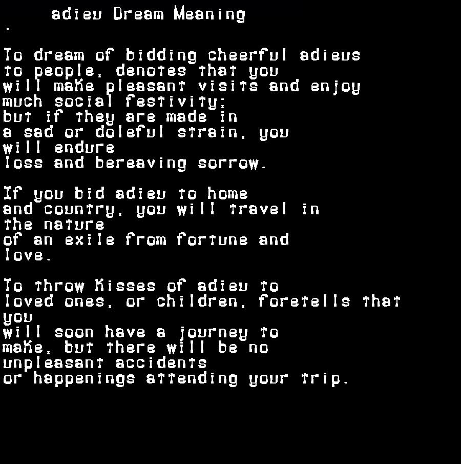 dream meanings adieu