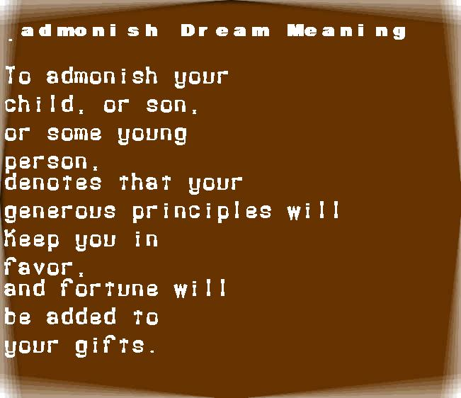 dream meanings admonish