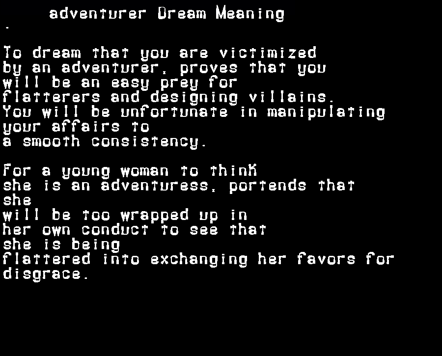 dream meanings adventurer