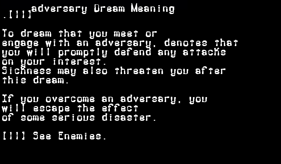dream meanings adversary