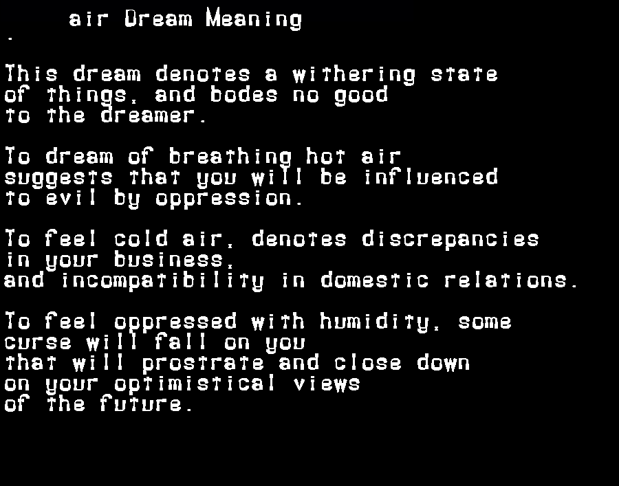 dream meanings air