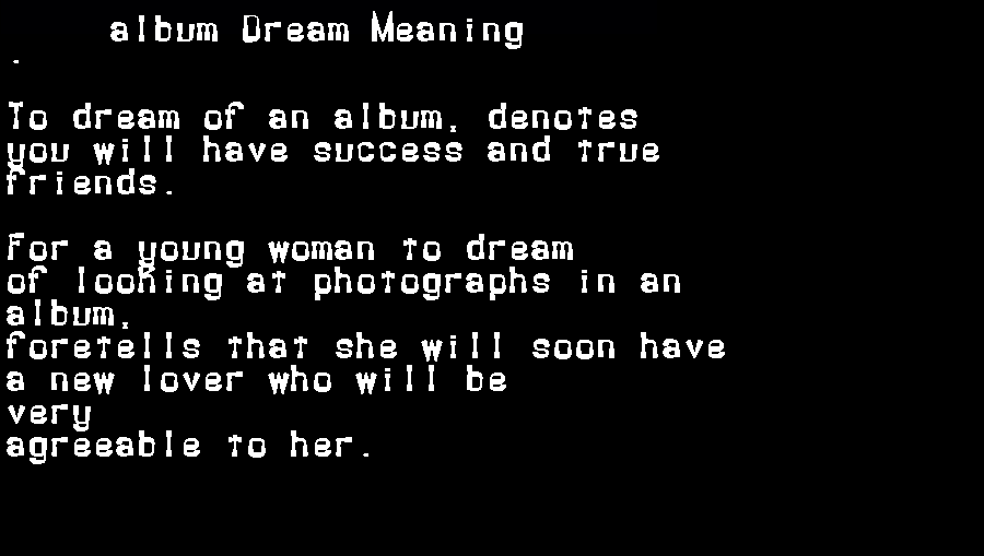 dream meanings album