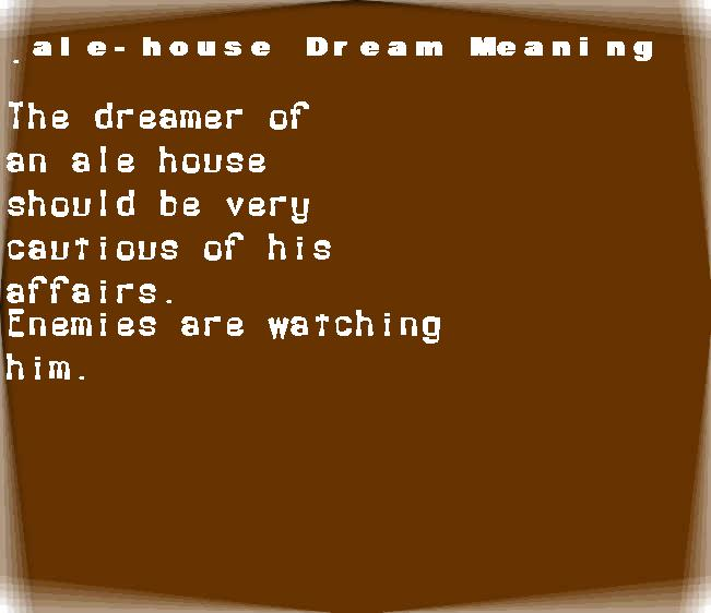 dream meanings ale-house