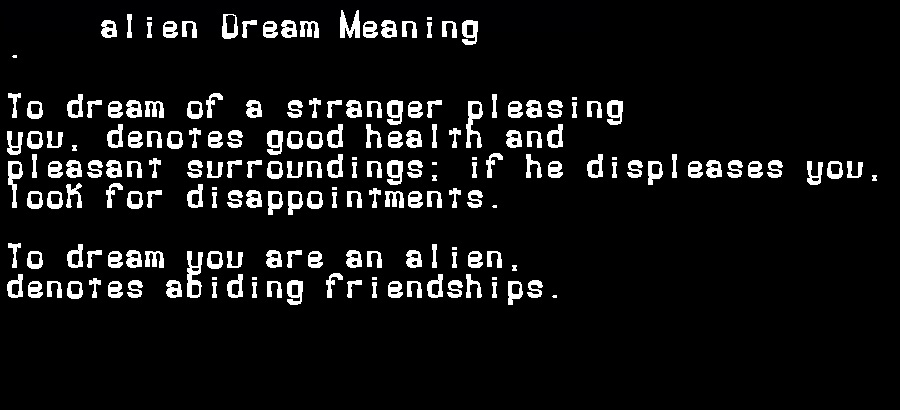 dream meanings alien