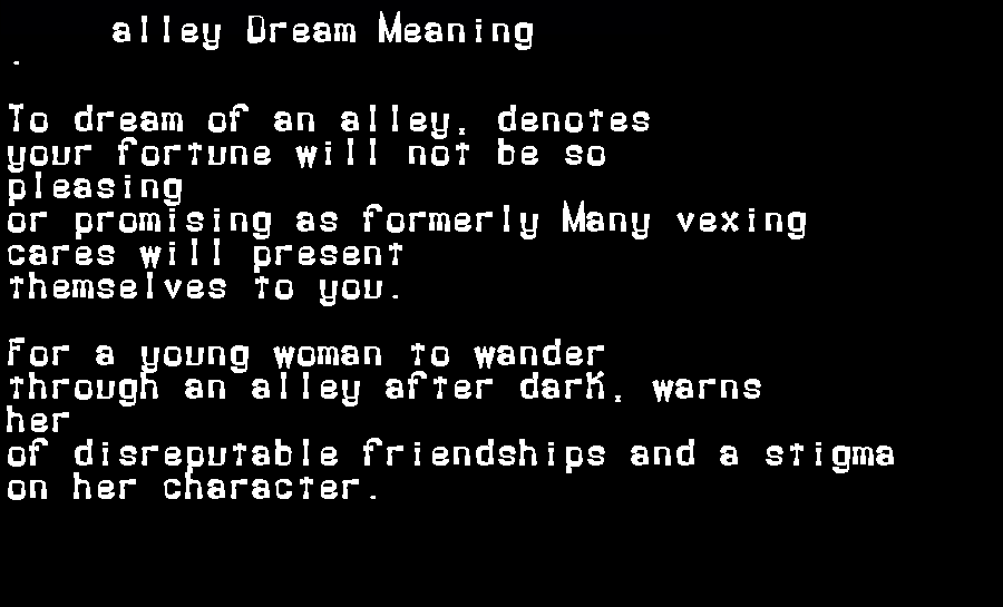 dream meanings alley