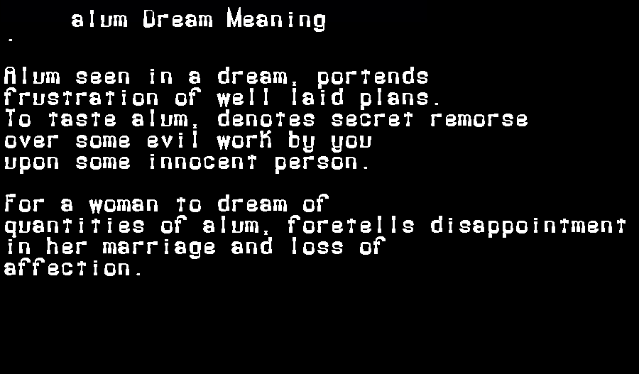 dream meanings alum