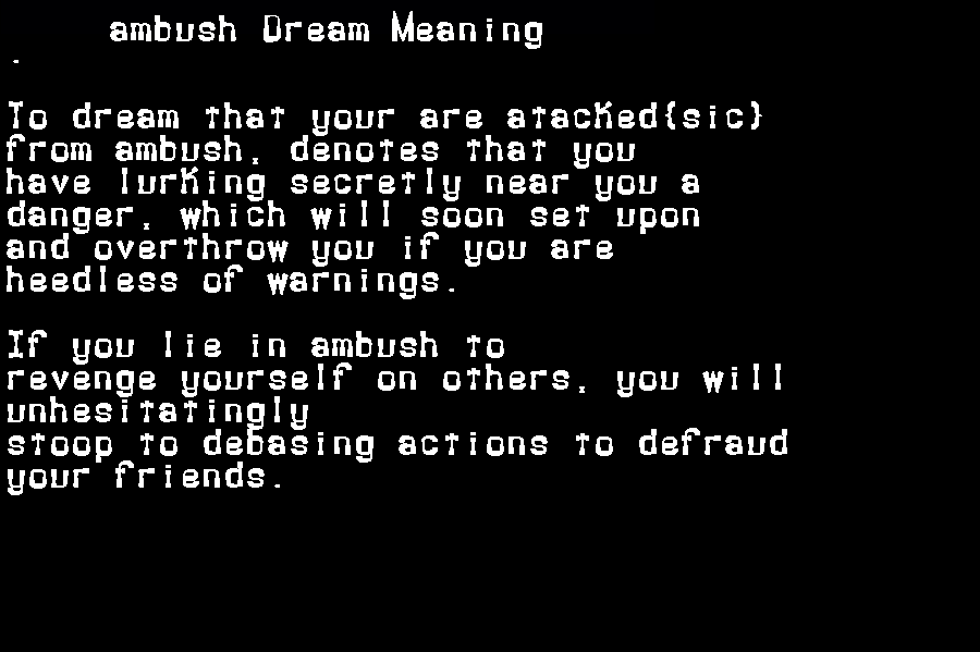 dream meanings ambush