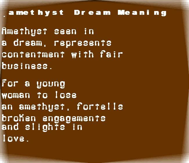 dream meanings amethyst
