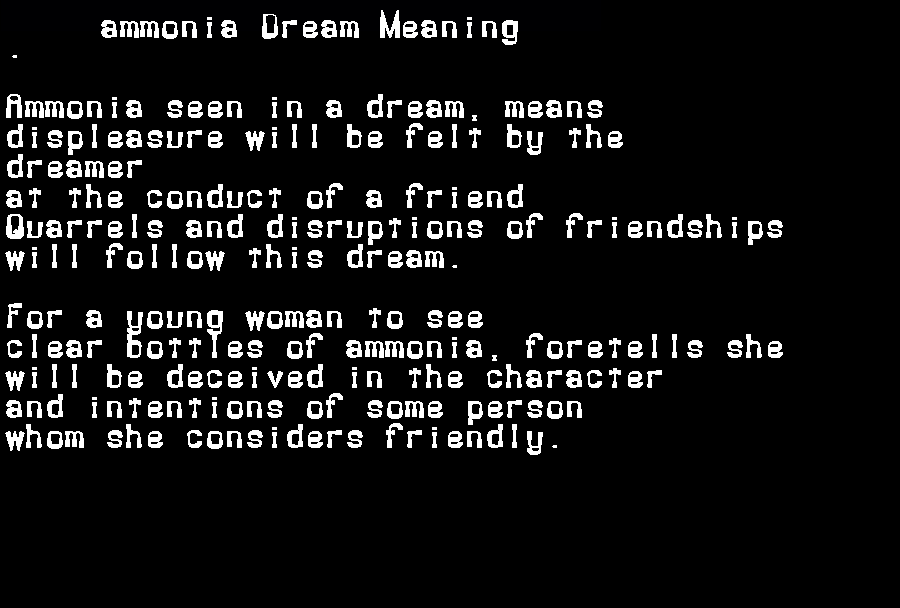 dream meanings ammonia
