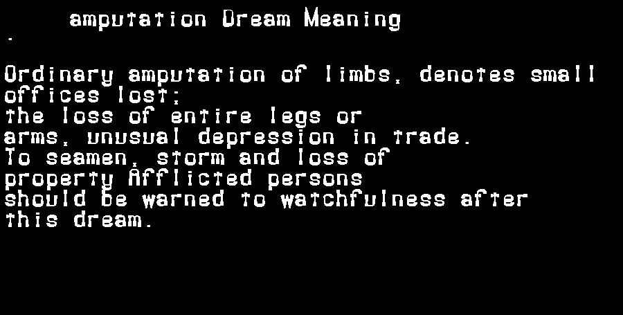 dream meanings amputation