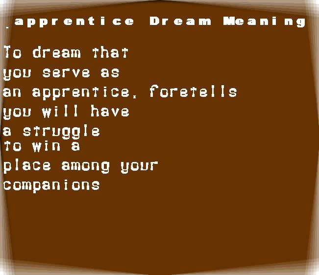 dream meanings apprentice