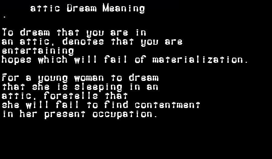 dream meanings attic