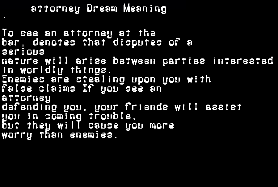 dream meanings attorney