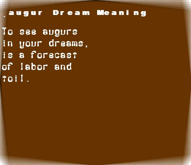 dream meanings augur