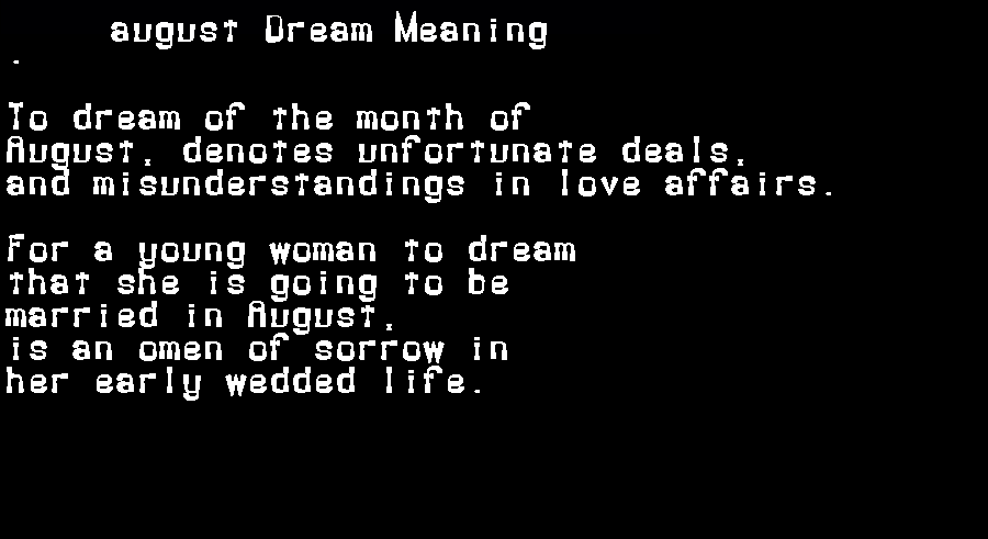 dream meanings august