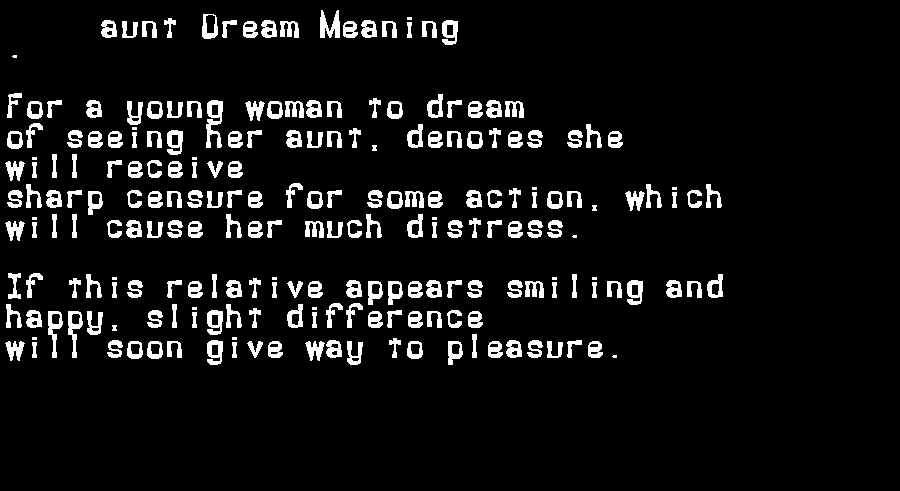 dream meanings aunt