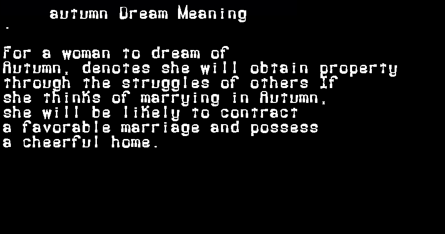 dream meanings autumn