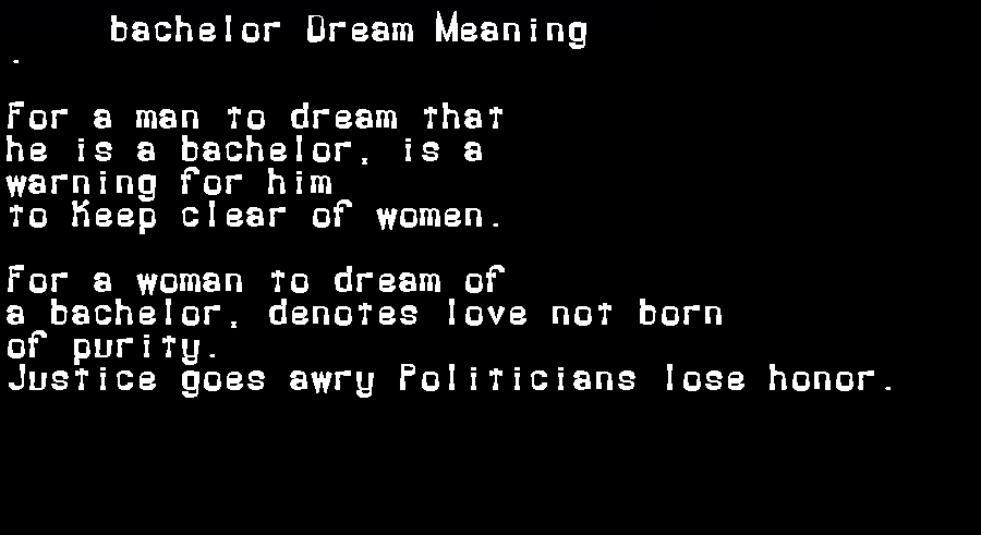 dream meanings bachelor