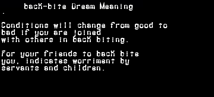 dream meanings back-bite