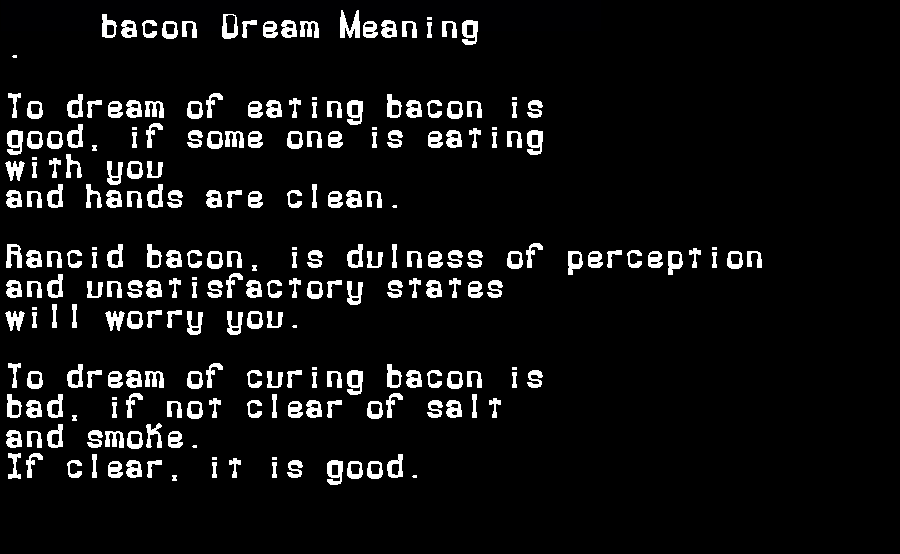 dream meanings bacon