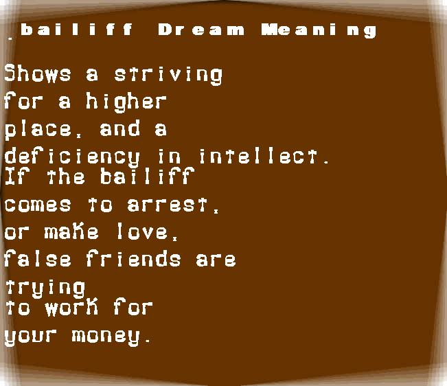 dream meanings bailiff