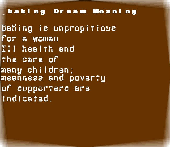 dream meanings baking