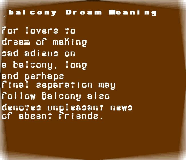 dream meanings balcony