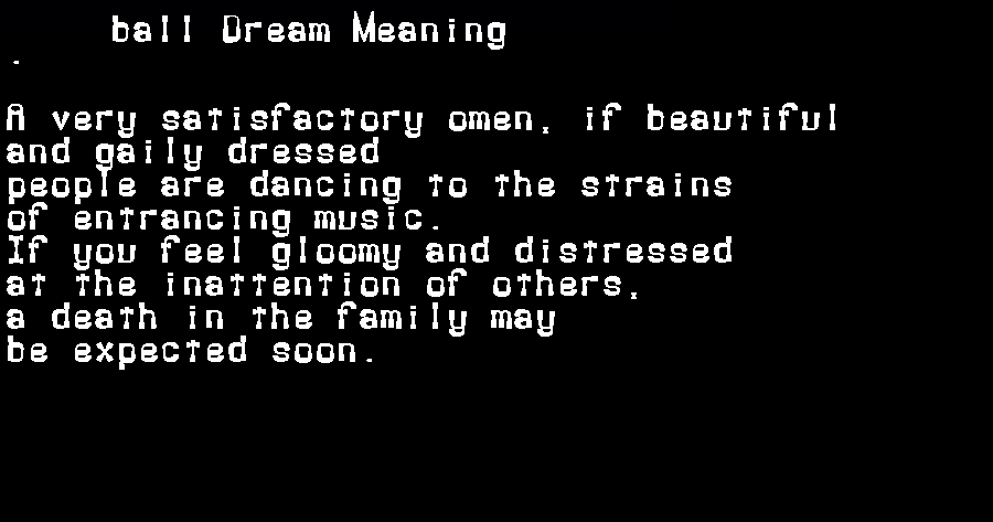 dream meanings ball
