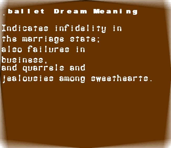 dream meanings ballet
