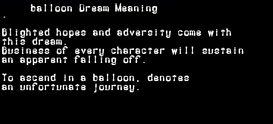 dream meanings balloon