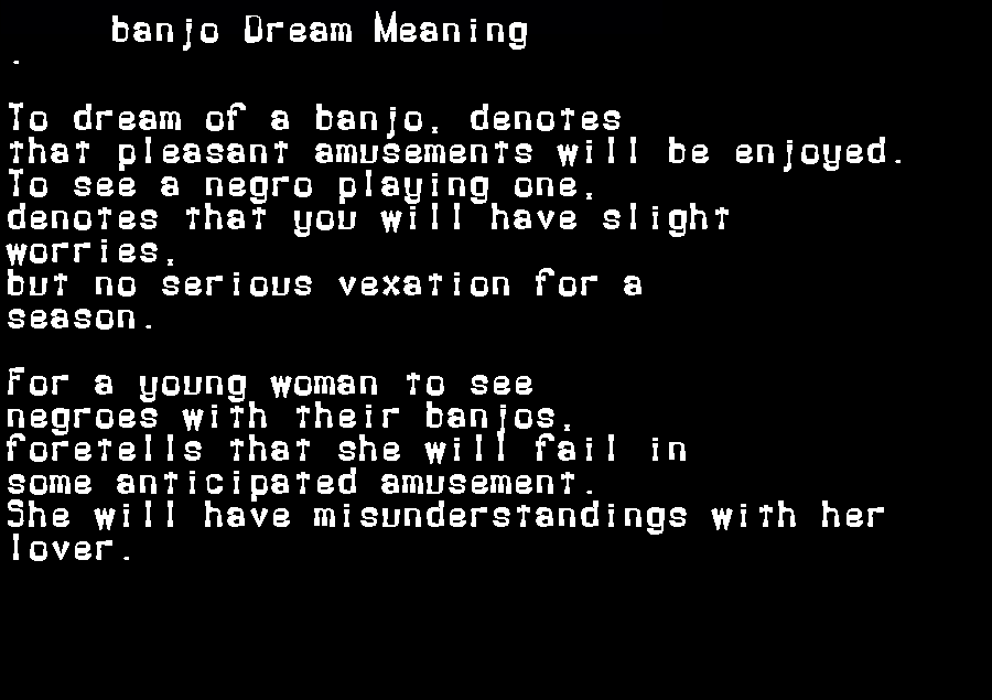 dream meanings banjo