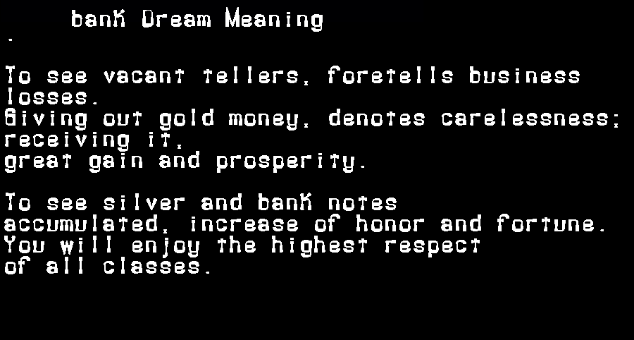 dream meanings bank