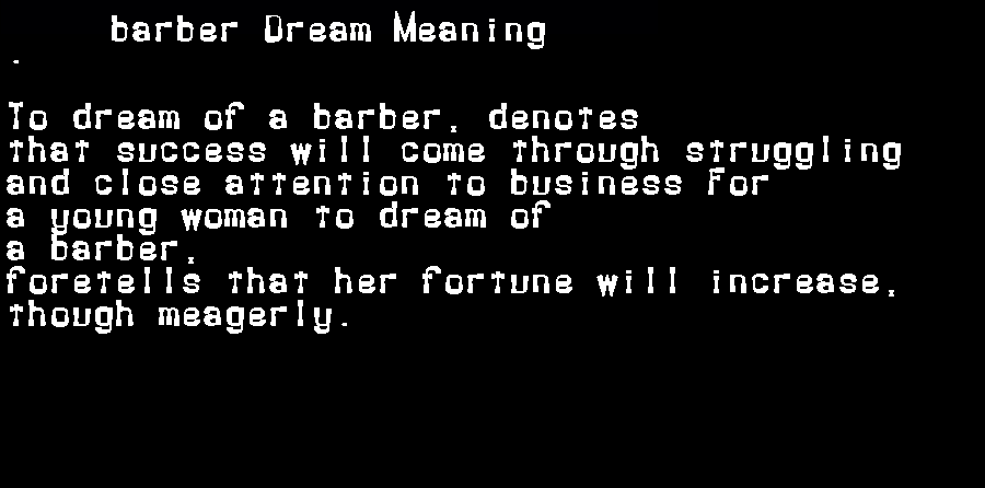 dream meanings barber