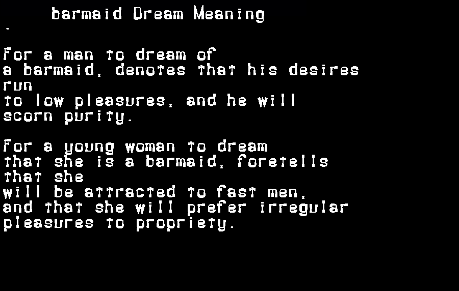 dream meanings barmaid