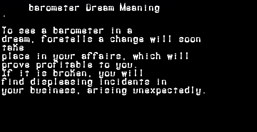 dream meanings barometer