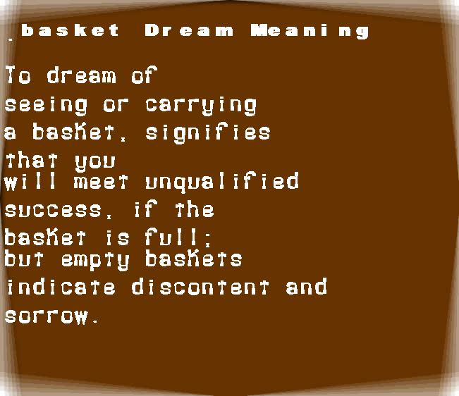 dream meanings basket