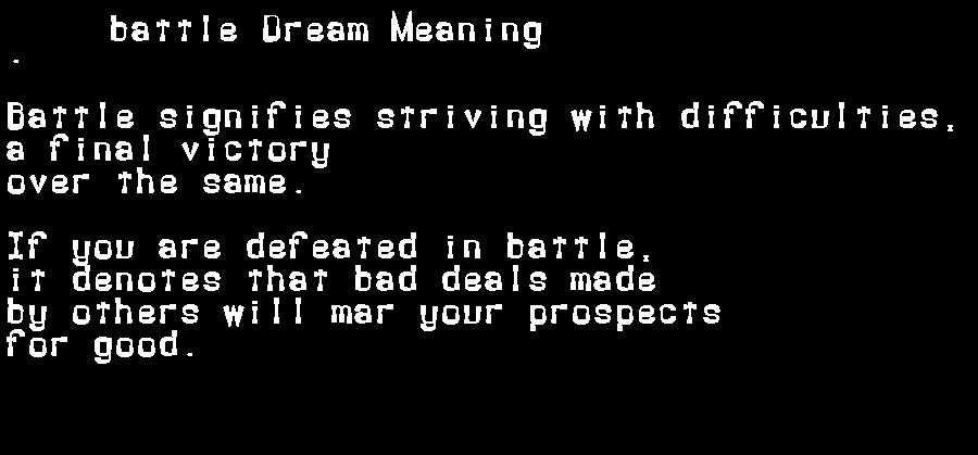 dream meanings battle