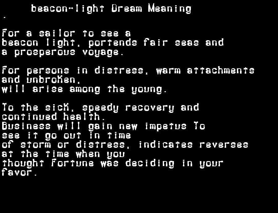 dream meanings beacon-light