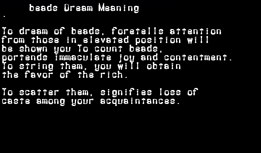 dream meanings beads