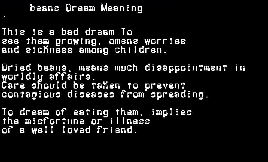 dream meanings beans