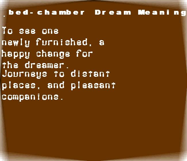 dream meanings bed-chamber