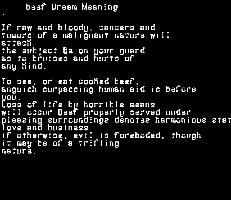 dream meanings beef