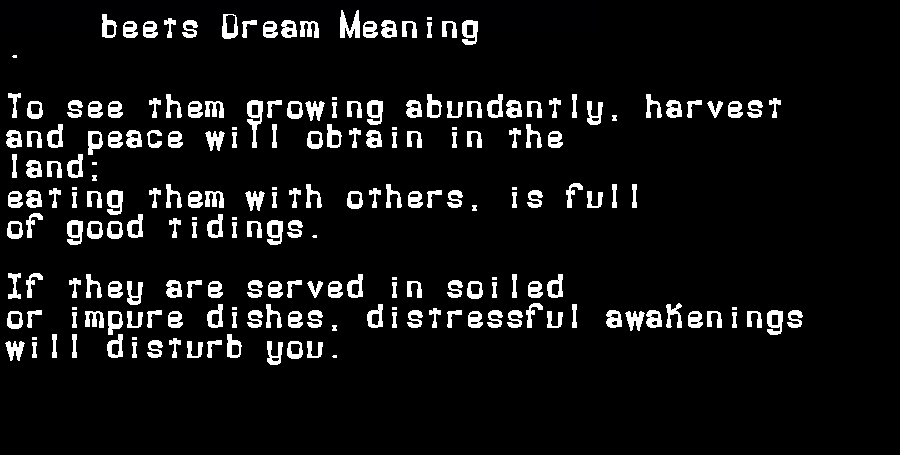 dream meanings beets