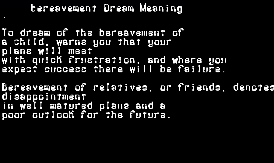 dream meanings bereavement