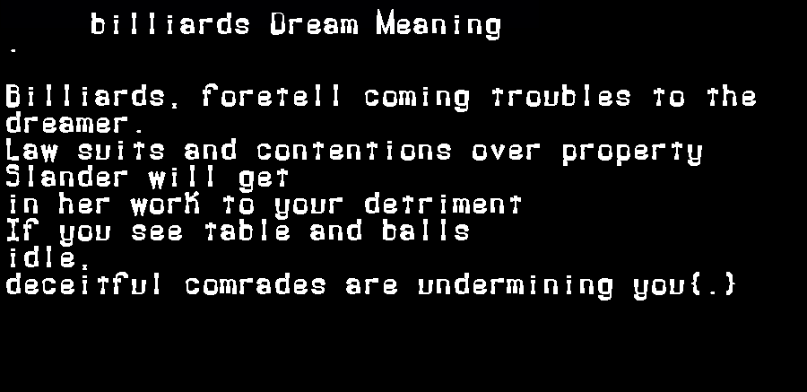dream meanings billiards