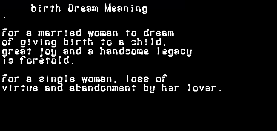 dream meanings birth