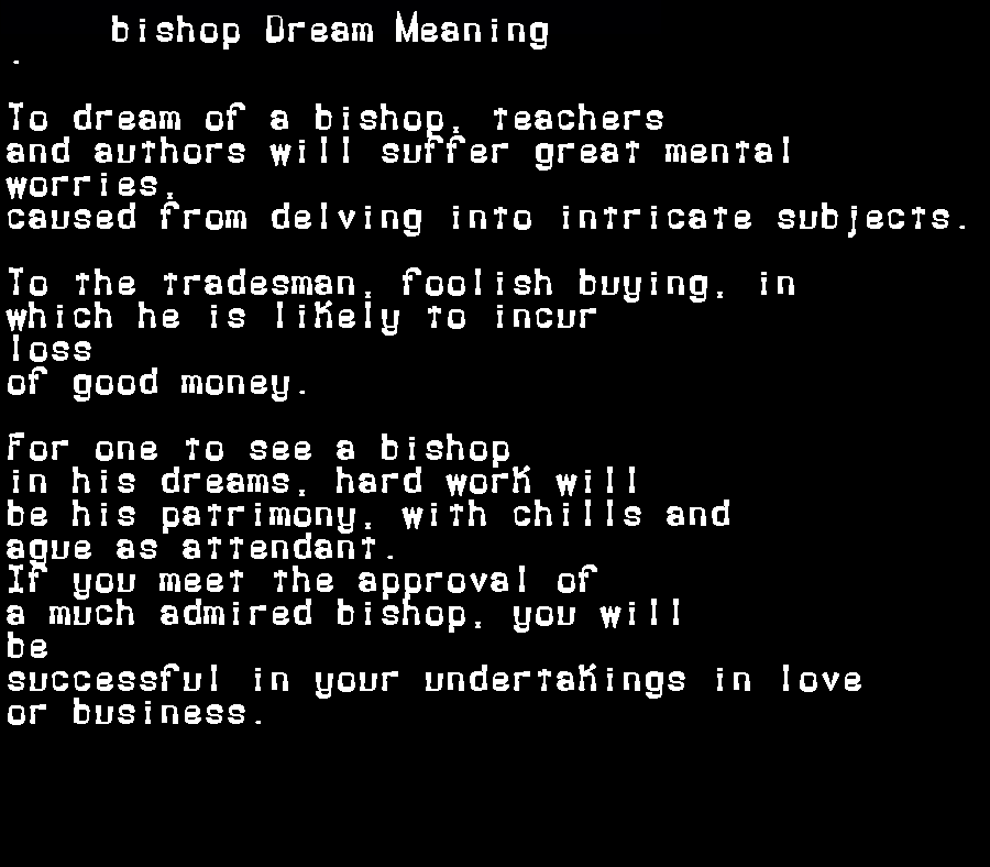 dream meanings bishop